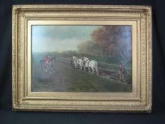 FRANCIS CECIL BOULT (British 1819-1895), ploughing scene with two greys in lee of a wood, mounted