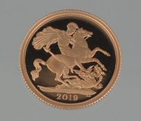 THE ROYAL MINT 'THE SOVEREIGN 2019' gold proof coin, 7.98g approx. With certificate of provenance