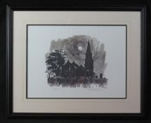 AFTER SIR JOHN 'KYFFIN' WILLIAMS KBE R.A (Welsh 1918-2006), 'Llanedwen Church, Night', limited