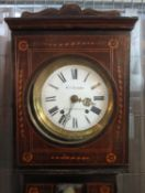 19TH CENTURY FRENCH INLAID MAHOGANY LONGCASE CLOCK marked W.J Richards, Swansea and Glanamman (