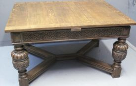 EARLY 20TH CENTURY OAK DRAW LEAF TABLE, made for Liberty & Co, Regent St, London, the top with two