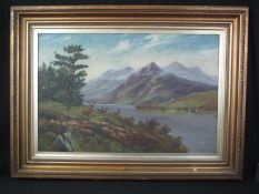 W LEWIS (British early 20th Century), Scottish landscape with mountains and loch, herd of deer