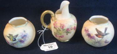 Royal Worcester porcelain helmet shaped jug, shape no. 1094, overall floral painted decoration on