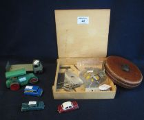 A box of play worn vintage Dinky and Matchbox toys to include, 'Guy' lorry, Aveling Barford road