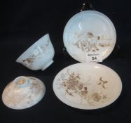 Japanese Meiji period eggshell porcelain bowl cover and saucer decorated in gilt with birds