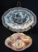 18th Century bat printed monochrome Continental porcelain indented oval dish with classical ruins