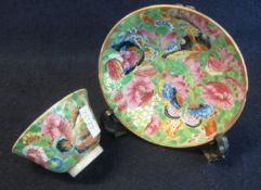 Chinese Canton porcelain tea bowl and saucer overall decorated in enamel famille rose design with