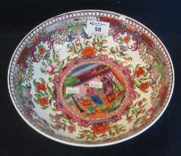 18th/early 19th Century New Hall porcelain Chinese design bowl decorated in enamels with the