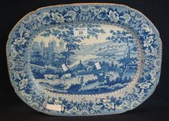 19th Century Welsh Swansea Glamorgan pottery 'Ladies of Llangollen' blue and white transfer