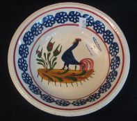 Llanelly pottery cockerel bowl with typical decoration within flower head border, unmarked, 18cm