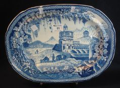 19th Century Welsh Cambrian pottery 'Monopteros' pattern oval shaped meat dish, with impressed no.
