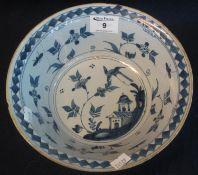 18th Century Dutch Delft oriental design bowl. External dash decoration, 22cm diameter approx. (B.P.