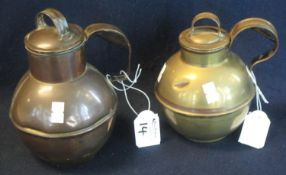 Two Jersey or Tenby type copper baluster shaped jugs with lids and loop handles. (2) (B.P. 24% incl.