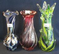 Group of bohemian and other coloured glass baluster shaped decorative vases. (3) (B.P. 21% + VAT)