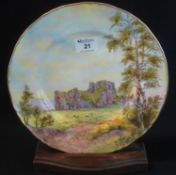 Royal Worcester bone china printed and painted cabinet plate, 'Oystermouth Castle', with printed