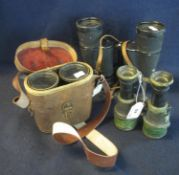 Pair of Vomega 7 x 50 binoculars in pig skin fitted case, First World War period binoculars and a
