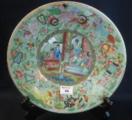 19th Century Chinese Canton porcelain charger or large plate, overall decorated in the famille