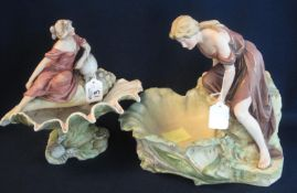 Royal Dux figural vase in the form of a siren on a large conch shell together with another Royal Dux