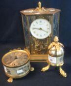 A Sinclair Harding brass drum shaped table clock, modern, a Kendo brass framed six glass perpetual