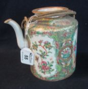 Chinese Canton porcelain cylindrical teapot and cover, overall decorated in famille rose design with
