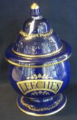 Chalsyn Fine Collections Ltd ceramic leech jar with pierced lid, marked 'Leeches', the reverse '