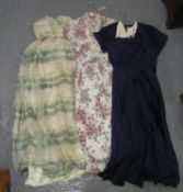 Three vintage dresses to include; 40s faille blue shirtwaister dress with label 'R.M.H.O 494', 50'