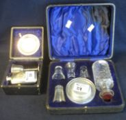 Silver plated travelling communion wine set to include; small paten chalice and flask in fitted box.