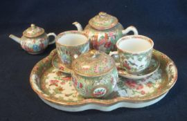 Chinese Canton porcelain famille rose design cabaret tea for two set with two cups and saucers,