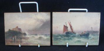 Sarah Louise Kilpac (British 1839-1909), coastal/beach scenes, including figures on a beach below