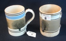 Two 19th Century Mocha ware pottery mugs, straight sided with typical banded decoration, one lacking