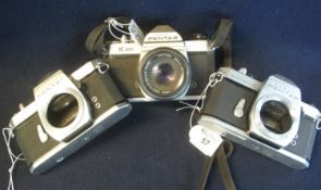 Three Pentax 35mm SLR camera bodies to include; K1000, Spotmatic and Spotmatic F, together with