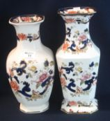Two Mason's Ironstone china Mandalay pattern baluster shaped vase with printed and gilded foliate