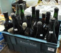 Tray of assorted drinking wines, various, together with unknown vintage bottles with wire seals