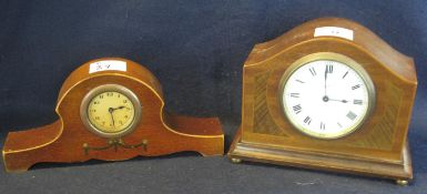 Two early 20th Century mahogany hat shaped boudoir clocks, one marked H Lee & Son of Hull. (2) (B.P.