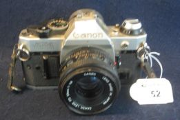Canon AE-1 'Program' 35mm SLR camera with Canon 50mm lens. (B.P. 21% + VAT) Sold as seen, not