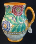 Mid Century Crown Ducal pottery Charlotte Rhead design foliate decorated, tube lined baluster jug,