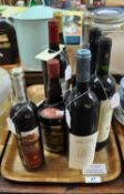 Tray of assorted wines and spirits to include; one bottle Tia Maria liqueur, one bottle of vodka