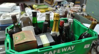 A crate of assorted and mixed wines and spirits, perry, cava, liqueur brandy etc. (B.P. 21% + VAT)