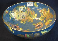 Spode bone china fruit bowl overall decorated with gilded foliate designs on a mottled blue