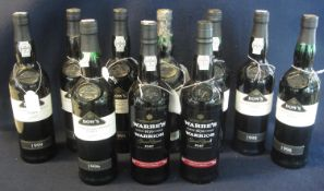 Two bottles of Warre's Warrior special Reserve Port, 75cl, 20% by volume, together with eight