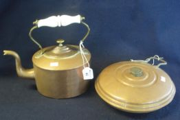 19th Century copper and brass kettle with ceramic handle, together with a copper hot water bottle of