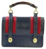 GUCCI HenkeltascheVintage-Liebhaberstück aus dunkelbraunem Leder mit rot-blauem Streifeneinsatz