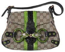GUCCI HandtascheLimited Edition Monogramm Krokodil Dragon Flap Bag Handtasche aus beigem Canvas