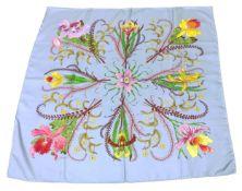 GUCCI Foulard by V. AccorneroVintage Liebhaber Stück aus 100% Seide in den Farben Rauchblau/Pink/