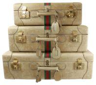 GUCCI Reisekoffer-SetVintage-Liebhaber-Set aus 3 Koffern in drei verschiedenen Grössen. Alle aus