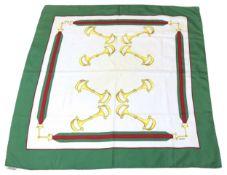 GUCCI Foulard Klassischer Vintage-Liebling aus 100% Seide in den Farben Grün/Rot/Gelb mit