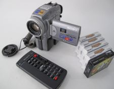 A SONY PCII5E Digital Handycam together with remote control and 5 cassettes unused.