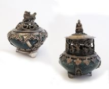 Two Chinese incense burners, green hardstone ovoid body, and white metal mounts, character marks