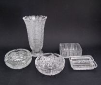 A collection of Bohemian hand cut lead crystal ashtrays and a vase H21cm. (5)