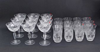 A collection of Bohemian hand cut lead crystal glasses comprising of twelve tumblers H11.5cm, FOUR